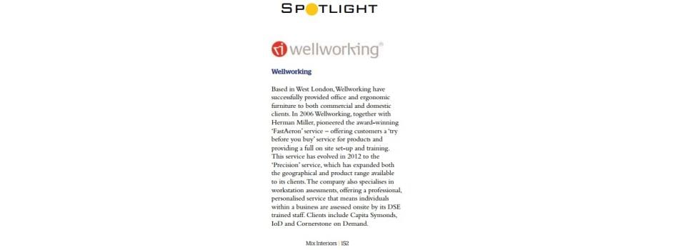 Wellworking ranked among the top 44 UK furniture dealers by Mix Interiors in April 2015