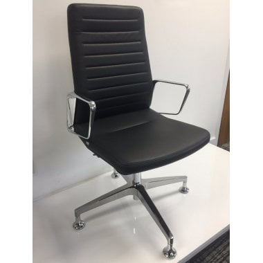 Interstuhl Vintage High Back Chair - Black Leather - Clearance Chair